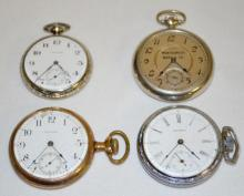 Four Waltham Pocket Watches, PS Bartlett, 2 A.W.W. Co. and 1 Montgomery Ward Co.