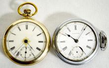 Two American Waltham Mod 1883 15J 18S SW Full NI DMK Pocket Watches