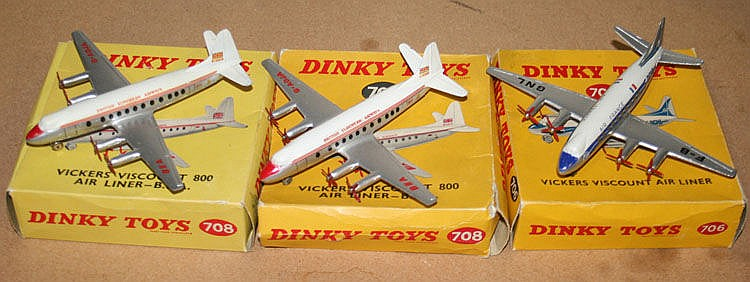 Two Dinky Toys No. 708 Vickers Viscount 800
