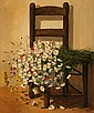 Marcel Georges Hue - Study of Flowers on a Chair,