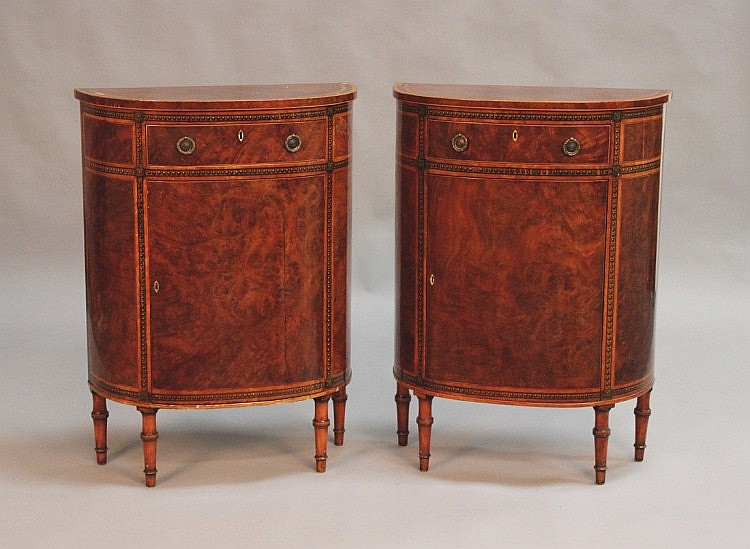 A pair of late George III Sheraton period burr