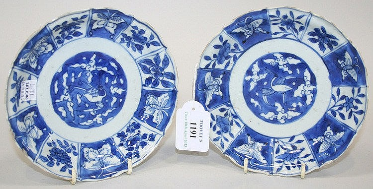 A pair of Chinese blue and white porcelain saucer