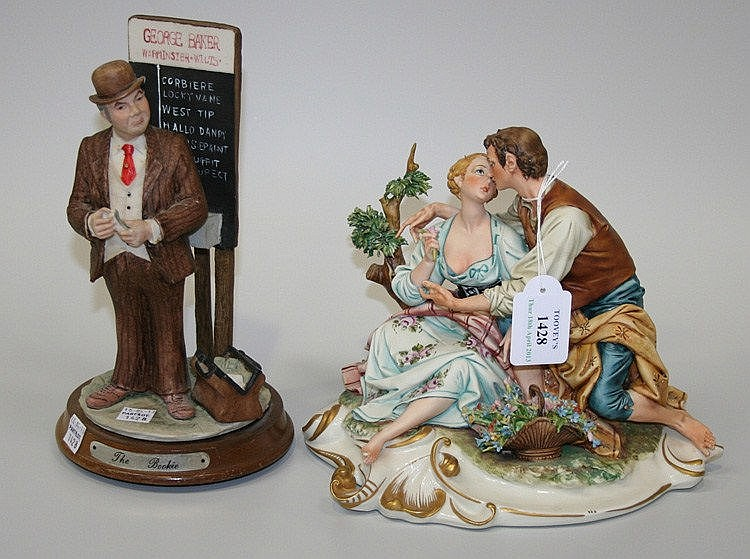A Capodimonte porcelain figure group modelled as a