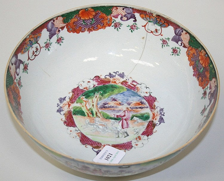 A Chinese famille rose export porcelain punch