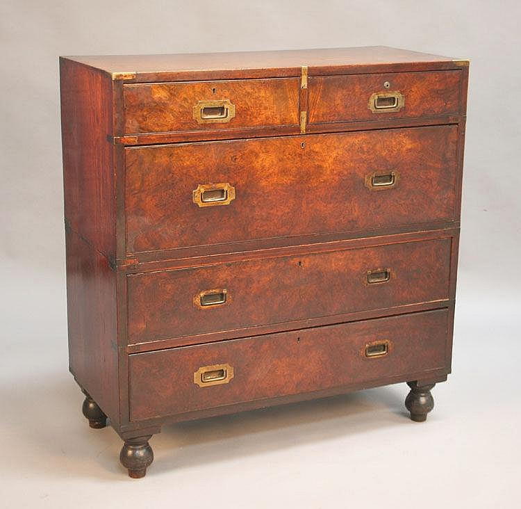 A 19th Century walnut campaign chest with brass
