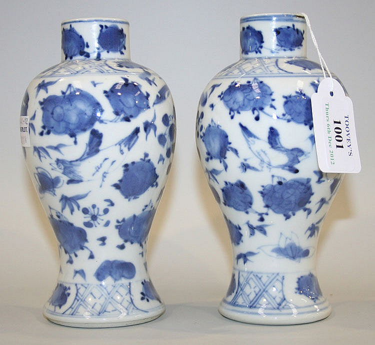 A pair of Chinese blue and white porcelain vases,