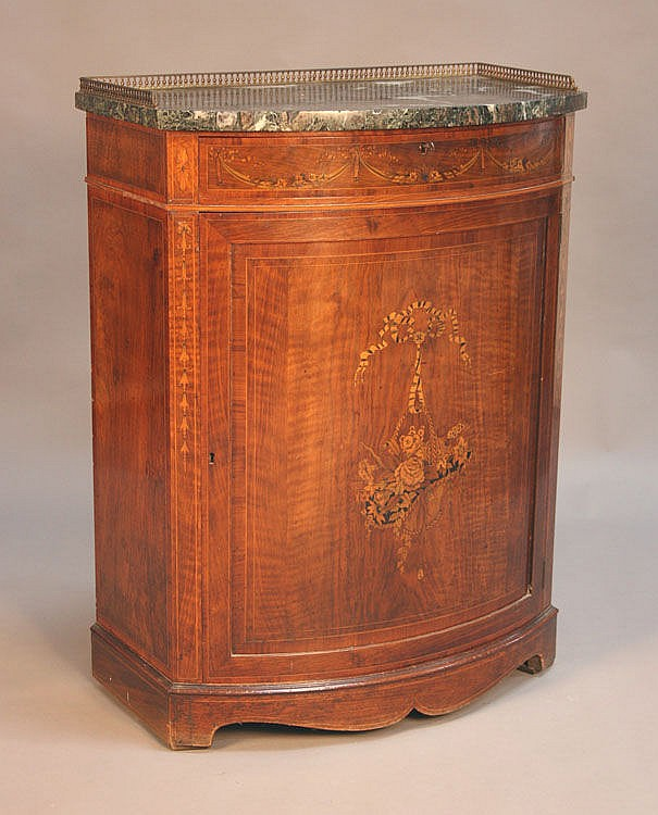 A late Victorian walnut bowfront side cabinet, the