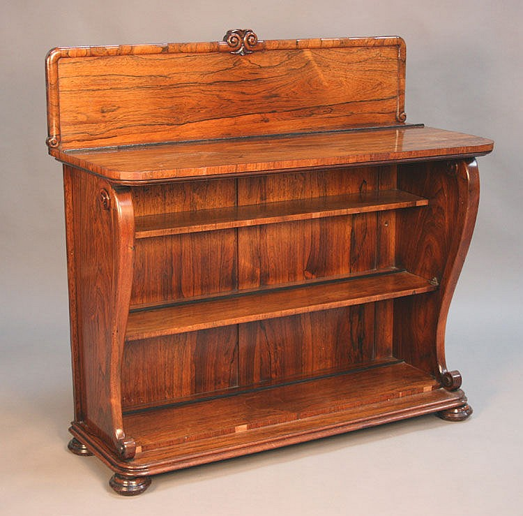 A William IV rosewood open fronted bookcase, the