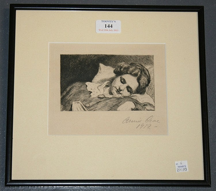 Arvid Aae - The Artist's Wife, monochrome etching,