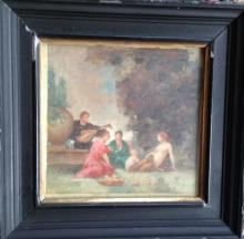 19th CENTURY CONTINENTAL OIL PAINTING, CLASSICAL ALLEGORICAL SCENE, SIGNED