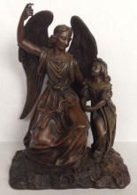19th CENTURY BRONZE SCULPTURE,  'GUARDIAN ANGEL & CHILD'