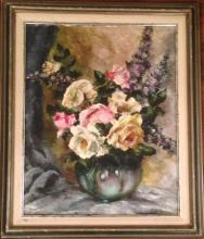 AMERICAN SCHOOL OIL PAINTING, MARY E. WEISER ' FLORAL STILL LIFE'