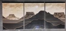 MID CENTURY MODERN LITHOGRAPHS 'PANORAMIC DESERT LANDSCAPE'  (3) signed & numbered