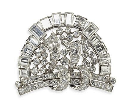 An Art Deco diamond set brooch Length from clasp to tip of central drop 19cm, detachable brooch 4cm x 3.5cm