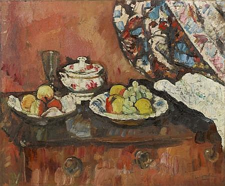 GEORGE LESLIE HUNTER (SCOTTISH 1877-1931) A STILL LIFE OF FRUIT 64cm x 77cm (25.25in x 30.25in)