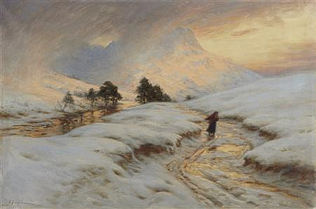 JOSEPH FARQUHARSON R.A (SCOTTISH 1846-1935) HOMEWARD BOUND 51cm x 76cm (20in x 30in)
