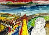 § JOHN BELLANY C.B.E., R.A., H.R.S.A. (SCOTTISH 1942-2013) EDINBURGH FROM FIFE 54cm x 75cm (21.25in x 30in)
