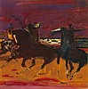 § SIR ROBIN PHILIPSON R.A., P.R.S.A., R.S.W., R.G.I. (SCOTTISH 1916-1992) HORSEMEN 25cm x 25cm (10in x 10in)