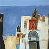 § CHARLES MACQUEEN R.S.W., R.G.I. (SCOTTISH B.1940) BELL TOWER, HAMMAMET 71cm x 71cm (28in x 28in)
