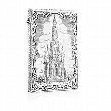 A scarce Victorian 'Castle top' card case 9.5cm x 6.5cm, 75.5g