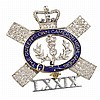 A Queen's Own Cameron Highlanders diamond and enamel sweetheart brooch 2.8cm wide