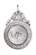Edinburgh Operative Tailors Golf Club - Two Edwardian golf medals both 9cm high including suspension