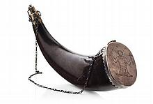 Scottish large silver mounted powder horn circa 1780 30cm long