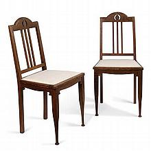 § ERNEST ARCHIBALD TAYLOR (1874-1951) FOR WYLIE & LOCHHEAD, GLASGOW PAIR OAK SIDE CHAIRS, CIRCA 1910