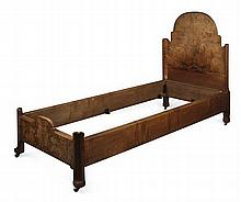 SIR ROBERT LORIMER (1864-1929) WALNUT SINGLE BED, CIRCA 1920 206cm long, 124cm high, 92cm wide