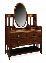 § ERNEST ARCHIBALD TAYLOR (1874-1951) FOR WYLIE & LOCHHEAD, GLASGOW MAHOGANY AND MARQUETRY INLAID DRESSING TABLE, CIRCA 1900 107cm w..