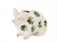 WEMYSS WARE SMALL PIG FIGURE, CIRCA 1900 16.5cm long