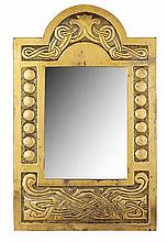 SCOTTISH SCHOOL BRASS WALL MIRROR, CIRCA 1910 59cm x 37.5cm
