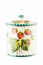 WEMYSS WARE LARGE 'STRAWBERRIES' PRESERVE JAR & COVER, CIRCA 1900 16cm high