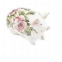 WEYMSS WARE SMALL 'CABBAGE ROSES' PIG MONEYBOX, CIRCA 1900 16cm long