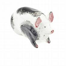 WEYMSS WARE SMALL PIG FIGURE, CIRCA 1900 16.3cm long