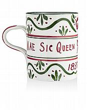 WEMYSS WARE ROYAL DIAMOND JUBILEE COMMEMORATIVE MUG, CIRCA 1900 14cm high