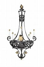 THOMAS HADDEN (1871-1940) WROUGHT IRON CHANDELIER, CIRCA 1920 151cm high, 76cm diameter