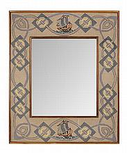 CELTIC REVIVAL EMBROIDERED WOOLWORK FRAME, CIRCA 1900 69cm x 56.5cm
