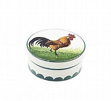 WEMYSS WARE 'BROWN COCKEREL' LOW POMADE, CIRCA 1900 9cm diameter