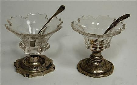 Two continental cut glass and silver mounted salts