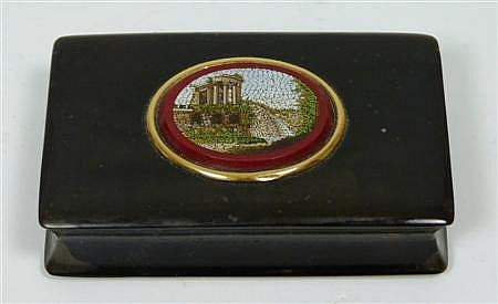 A tortoiseshell and micro mosaic snuff box 7.5cm wide