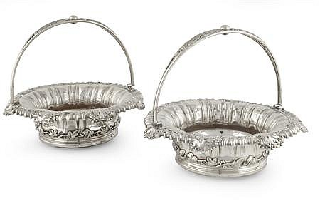 A pair of Sheffield plated baskets Baskets 23cm diameter