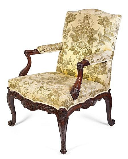 FINE GEORGE II CARVED MAHOGANY LIBRARY ARMCHAIR CIRCA 1755 68cm wide, 92cm high, 51cm deep
