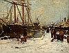 JAMES KAY R.S.A., R.S.W. (SCOTTISH 1858-1942) ON A SNOW COVERED QUAY 71cm x 91cm (28in x 36in)
