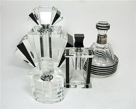 ART DECO STYLE COLLECTION OF GLASS PERFUME BOTTLES, CONTEMPORARY