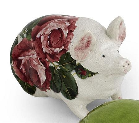 WEMYSS WARE 'CABBAGE ROSES' SMALL PIG FIGURE, CIRCA 1900 16cm long
