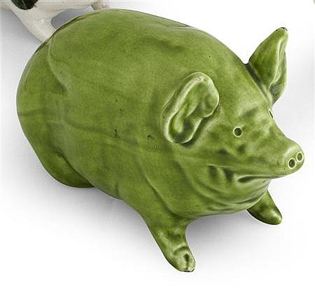 WEMYSS WARE SMALL PIG FIGURE, CIRCA 1900 16cm long