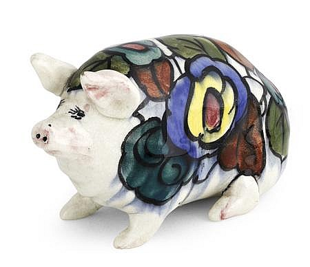WEMYSS WARE 'LANGTOUN' SMALL PIG FIGURE, 1920S 16.5cm long