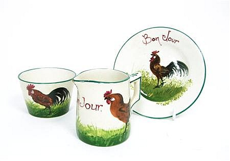 WEMYSS WARE 'BROWN COCKEREL AND HENS' MILK JUG, EARLY 20TH CENTURY