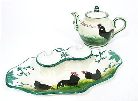 WEMYSS WARE 'BLACK COCKEREL AND HENS' TEAPOT & COVER, EARLY 20TH CENTURY